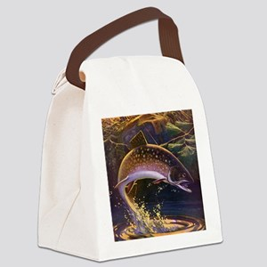 Vintage Fishing, Trout Fish Canvas Lunch Bag