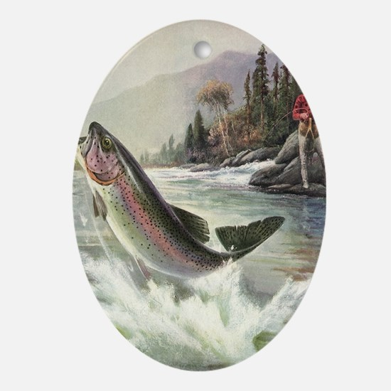 Vintage Fishing, Rainbow Trout Oval Ornament