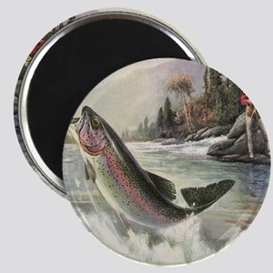 Vintage Fishing, Rainbow Trout Magnet