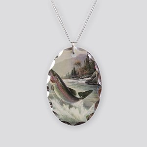 Vintage Fishing, Rainbow Trout Necklace Oval Charm