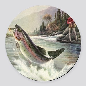 Vintage Fishing, Rainbow Trout Round Car Magnet