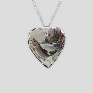 Vintage Fishing, Rainbow Trou Necklace Heart Charm