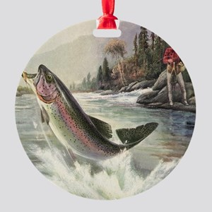 Vintage Fishing, Rainbow Trout Round Ornament