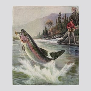 Vintage Fishing, Rainbow Trout Throw Blanket