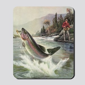 Vintage Fishing, Rainbow Trout Mousepad