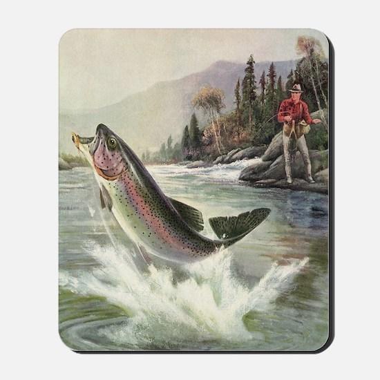 Vintage Fishing, Rainbow Trout Mousepad