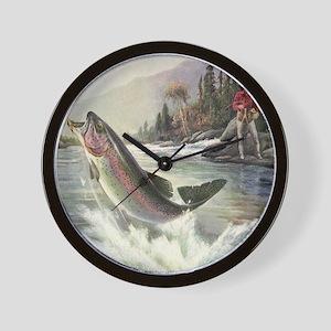 Vintage Fishing, Rainbow Trout Wall Clock