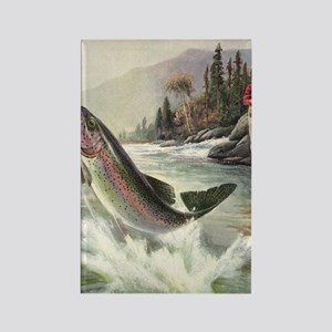 Vintage Fishing, Rainbow Trout Rectangle Magnet