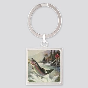 Vintage Fishing, Rainbow Trout Square Keychain