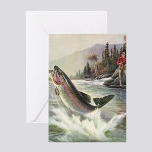 Vintage Fishing, Rainbow Trout Greeting Card