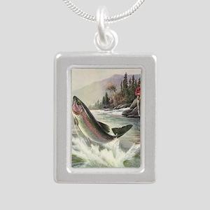 Vintage Fishing, Rainbow Silver Portrait Necklace