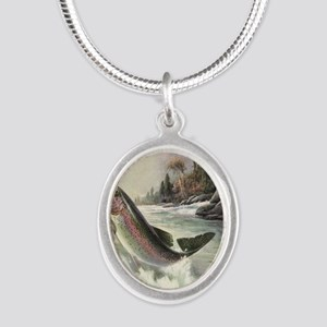 Vintage Fishing, Rainbow Trou Silver Oval Necklace
