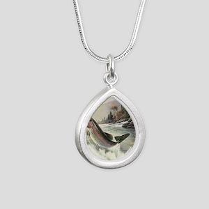 Vintage Fishing, Rainbow Silver Teardrop Necklace