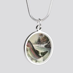 Vintage Fishing, Rainbow Tro Silver Round Necklace