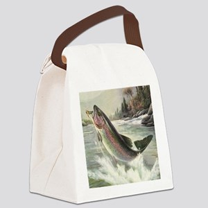 Vintage Rainbow Trout Canvas Lunch Bag