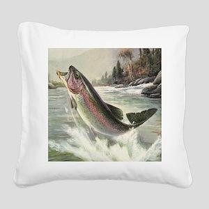 Vintage Rainbow Trout Square Canvas Pillow