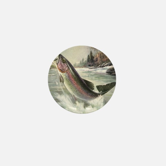 Vintage Rainbow Trout Mini Button