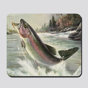 Vintage Rainbow Trout Mousepad