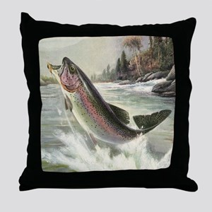 Vintage Rainbow Trout Throw Pillow