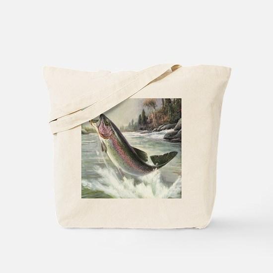 Vintage Rainbow Trout Tote Bag