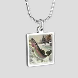 Vintage Rainbow Trout Silver Square Necklace