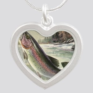 Vintage Rainbow Trout Silver Heart Necklace