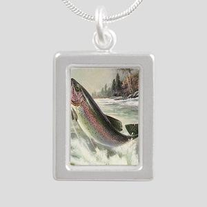 Vintage Rainbow Trout Silver Portrait Necklace