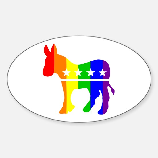 Democratic Pride Oval Decal
