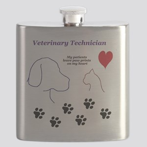 Veterinary Technician-Paw Prints on My Heart Flask