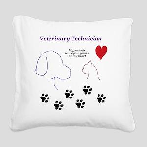 Veterinary Technician-Paw Pri Square Canvas Pillow