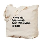Cat Lady: One Bad Relationship Away Tote Bag