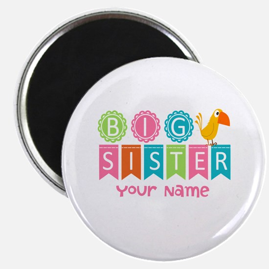 """Colorful Whimsy Bird Big Sister 2.25"""" Magnet (100"""