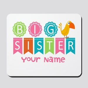 Colorful Whimsy Bird Big Sister Mousepad