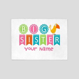 Colorful Whimsy Bird Big Sister 5'x7'Area Rug