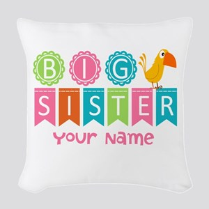 Colorful Whimsy Bird Big Sister Woven Throw Pillow