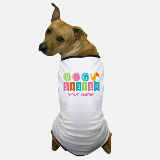 Colorful Whimsy Bird Big Sister Dog T-Shirt