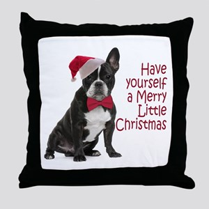 Santa Frenchie Throw Pillow