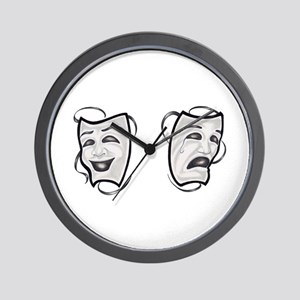Comedy Tragedy Masks Wall Clock