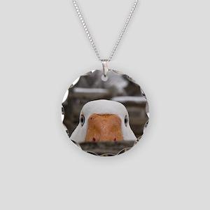 Peeking Goose Necklace Circle Charm