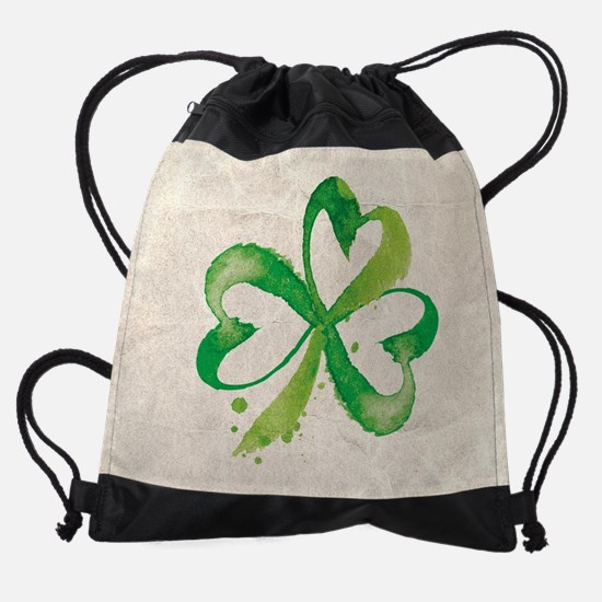 Shamrock Brushstrokes Drawstring Bag