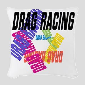 Drag Racing Woven Throw Pillow