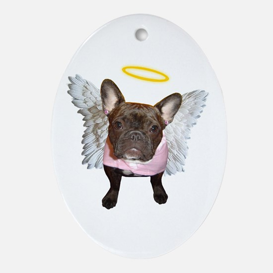 Angel Frenchie Oval Ornament