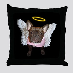 Angel Frenchie Throw Pillow