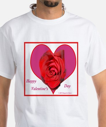 Red Rose on Pink Heart White T-Shirt