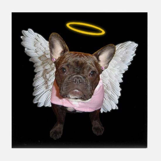 Angel Frenchie Tile Coaster