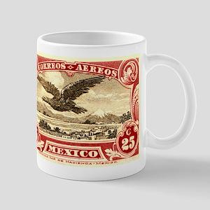 Antique 1928 Mexico Flying Eagle Postage Stamp Mug
