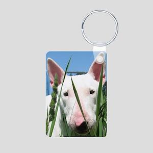 Cute English Bull Terrier  Aluminum Photo Keychain