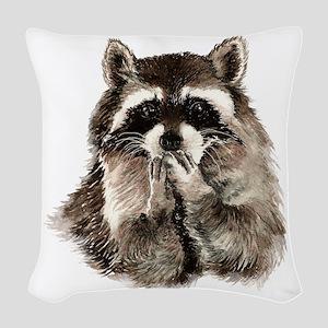 Cute Humorous Watercolor Raccoon Blowing a Kiss Wo