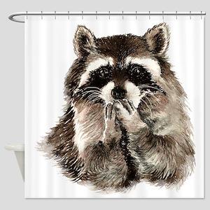 Cute Humorous Watercolor Raccoon Blowing a Kiss Sh