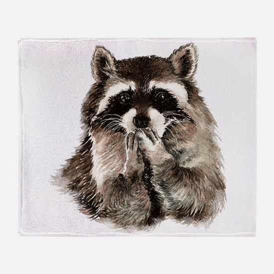 Cute Humorous Watercolor Raccoon Blowing a Kiss Th